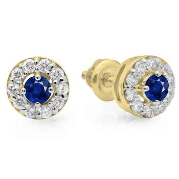Trang sức Dazzling Rock Dazzlingrock Collection 18K Round Blue Sapphire & Kim cương trắng Nữ Cluster Stud Bông tai (khuyên tai