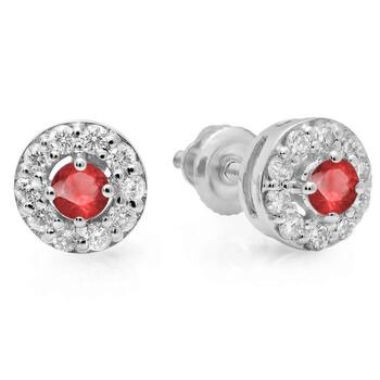 Trang sức Dazzling Rock Dazzlingrock Collection 14K Real Round Cut Ruby & Kim cương trắng Nữ Cluster Stud Bông tai (khuyên tai