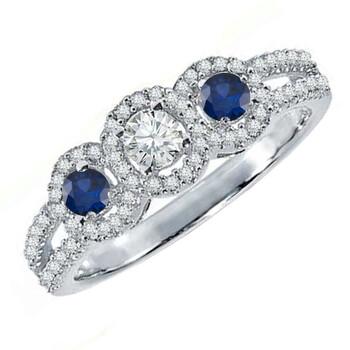 Trang sức Dazzling Rock Dazzlingrock Collection 14K Round Blue Sapphire & Kim cương trắng 3 Stone Split Shank Nhẫn đính hôn
