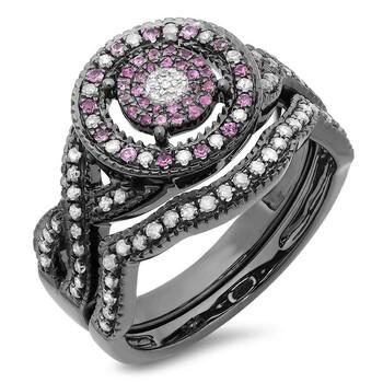 Trang sức Dazzling Rock Dazzlingrock Collection Đen Rhodium mạ Bạc 925 Kim cương trắng và Pink Sapphire Nhẫn Set