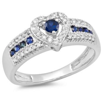 Trang sức Dazzling Rock Dazzlingrock Collection 10K Round Blue Sapphire & Kim cương trắng Bridal Heart Promise Nhẫn đính hôn
