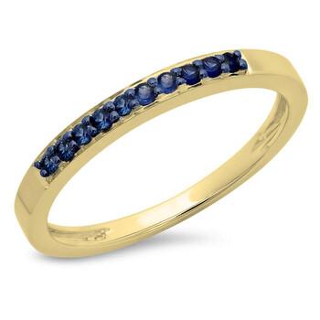 Trang sức Dazzling Rock Dazzlingrock Collection 0.15 Carat (ctw) 10K Blue Sapphire Nữ Anniversary Wedding Band Stackable Nhẫn