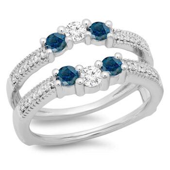Trang sức Dazzling Rock Dazzlingrock Collection 0.80 Carat (ctw) 14K Blue & Kim cương trắng Wedding Band 3 Stone Guard Nhẫn 3/4 CT