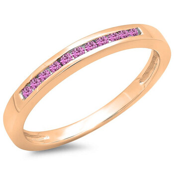 Trang sức Dazzling Rock Dazzlingrock Collection 0.15 Carat (ctw) 14K Round Pink Sapphire Nữ Wedding Band Stackable Nhẫn