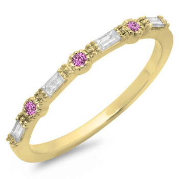 Trang sức Dazzling Rock Dazzlingrock Collection 14K Round Cut Pink Sapphire & Baguette Cut Kim cương trắng Anniversary Wedding Band