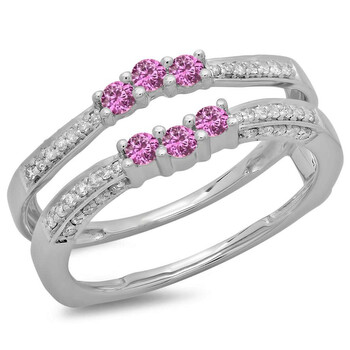 Trang sức Dazzling Rock Dazzlingrock Collection 14K Round Pink Sapphire & Kim cương trắng Nữ Wedding Band Enhancer Guard Nhẫn