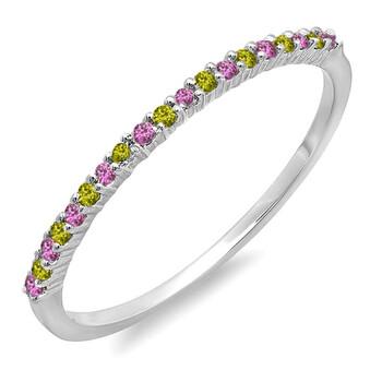Trang sức Dazzling Rock Dazzlingrock Collection 0.15 Carat (ctw) 14K Round Pink Sapphire & Peridot Nữ Wedding Stackable Nhẫn