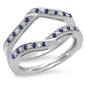 Trang sức Dazzling Rock Dazzlingrock Collection 14K Blue Sapphire & Kim cương trắng Nữ Wedding Band Enhancer Guard Double Nhẫn