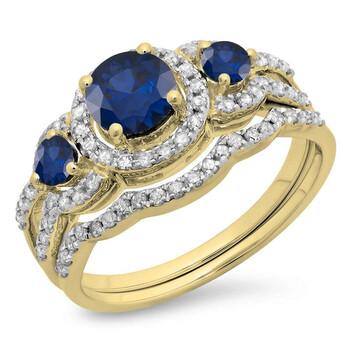 Trang sức Dazzling Rock Dazzlingrock Collection 10K Blue Sapphire & Kim cương trắng Nữ 3 Stone Bridal Nhẫn đính hôn Set