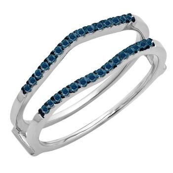 Trang sức Dazzling Rock 0.18 Carat (ctw) 14K Round Kim cương xanh Nữ Anniversary Wedding Band Enhancer Guard Double Nhẫn
