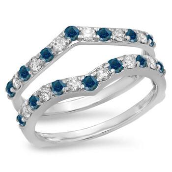 Trang sức Dazzling Rock Dazzlingrock Collection 0.95 Carat (ctw) 14K Blue & Kim cương trắng Wedding Enhancer Guard Double Band 1 CT