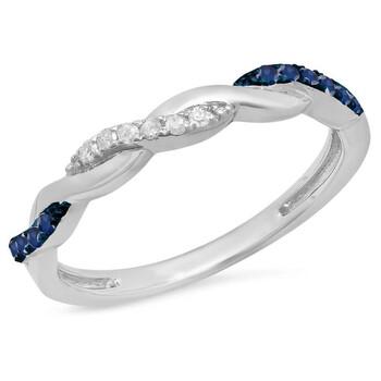 Trang sức Dazzling Rock Dazzlingrock Collection Bạc 925 Round Blue Sapphire & Kim cương trắng Nữ Swirl Wedding Stackable Band