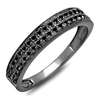 Trang sức Dazzling Rock Dazzlingrock Collection 0.35 Carat (ctw) Đen Rhodium mạ 10K Round Kim cương đen Wedding Band 1/3 CT