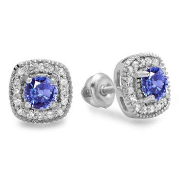Trang sức Dazzling Rock Dazzlingrock Collection 10K Round Cut Tanzanite & Kim cương trắng Nữ Halo Stud Bông tai (khuyên tai
