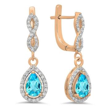 Trang sức Dazzling Rock Dazzlingrock Collection 14K Pear Cut Blue Topaz & Round Cut Kim cương trắng Nữ Halo Dangling Drop Bông tai (khuyên tai