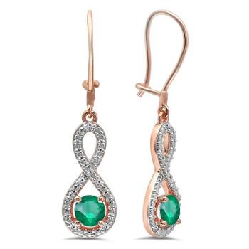 Trang sức Dazzling Rock Dazzlingrock Collection 10K Round Emerald & Kim cương trắng Nữ Infinity Dangling Bông tai (khuyên tai