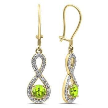 Trang sức Dazzling Rock Dazzlingrock Collection 10K Round Peridot & Kim cương trắng Nữ Infinity Dangling Bông tai (khuyên tai