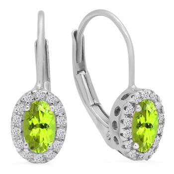 Trang sức Dazzling Rock Dazzlingrock Collection 14K Oval Cut Peridot & Round Cut Kim cương trắng Nữ Halo Style Hoop Bông tai (khuyên tai