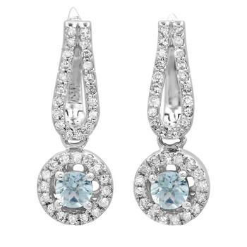 Trang sức Dazzling Rock Dazzlingrock Collection 14K Round Aquamarine & Kim cương trắng Nữ Halo Style Dangling Drop Bông tai (khuyên tai