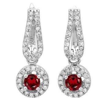 Trang sức Dazzling Rock Dazzlingrock Collection 14K Round Garnet & Kim cương trắng Nữ Halo Style Dangling Drop Bông tai (khuyên tai