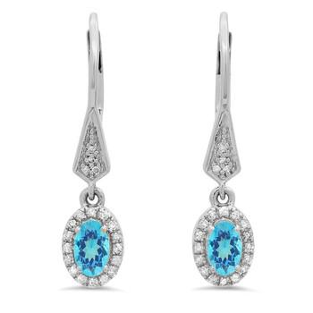 Trang sức Dazzling Rock Dazzlingrock Collection 10K Oval Blue Topaz & Round Kim cương trắng Nữ Halo Style Dangling Drop Bông tai (khuyên tai