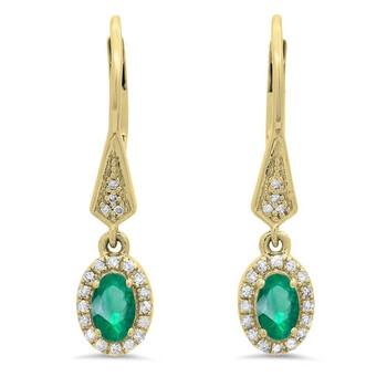 Trang sức Dazzling Rock Dazzlingrock Collection 14K 5X3 MM Each Oval Emerald & Round Kim cương trắng Nữ Halo Dangling Bông tai (khuyên tai