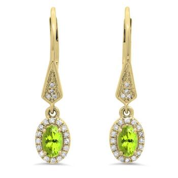 trang sức Dazzling Rock Dazzlingrock Collection 10K Oval Peridot & Round Kim cương trắng Nữ Halo Style Dangling Drop Bông tai (khuyên tai, hoa tai), Yellow Gold chính hãng sale giá rẻ tại Hà nội TPHCM