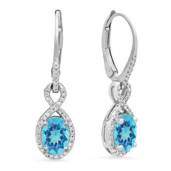 Trang sức Dazzling Rock Dazzlingrock Collection 18K Oval Blue Topaz & Round Kim cương trắng Nữ Infinity Dangling Bông tai (khuyên tai