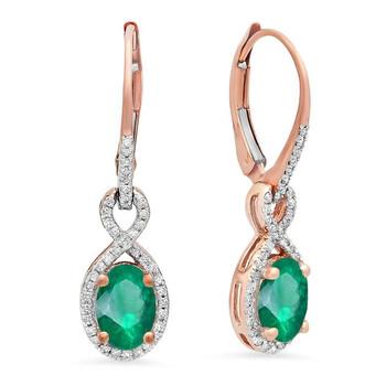 Trang sức Dazzling Rock Dazzlingrock Collection 10K Oval Emerald & Round Kim cương trắng Nữ Infinity Dangling Bông tai (khuyên tai