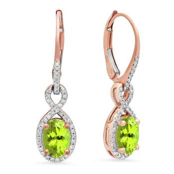 Trang sức Dazzling Rock Dazzlingrock Collection 10K Oval Peridot & Round Kim cương trắng Nữ Infinity Dangling Bông tai (khuyên tai