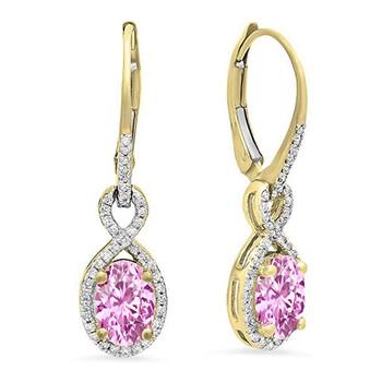 Trang sức Dazzling Rock Dazzlingrock Collection 10K Oval Pink Sapphire & Round Kim cương trắng Nữ Infinity Dangling Bông tai (khuyên tai, hoa tai), Yellow Gold chính hãng sale giảm giá sỉ rẻ nhất ở Hà nội TPHCM