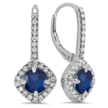 Trang sức Dazzling Rock Dazzlingrock Collection 14K Round Cut Blue Sapphire & Kim cương trắng Nữ Halo Style Hoop Bông tai (khuyên tai