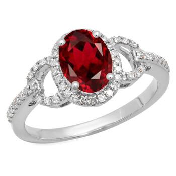 Trang sức Dazzling Rock Dazzlingrock Collection 14K 8X6 MM Each Oval Garnet & Round Kim cương Nữ Halo Nhẫn đính hôn