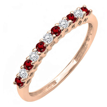 Trang sức Dazzling Rock Dazzlingrock Collection 10K Round Garnet & Kim cương trắng Anniversary Stackable Wedding Band