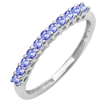 Trang sức Dazzling Rock Dazzlingrock Collection 10K Round Tanzanite Anniversary Stackable Wedding Band 1/3 CT