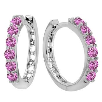 trang sức Dazzling Rock 14K Round Pink Sapphire Nữ Huggies Hoop Bông tai (khuyên tai, hoa tai), Vàng trắng chính hãng sale giá rẻ tại Hà nội TPHCM