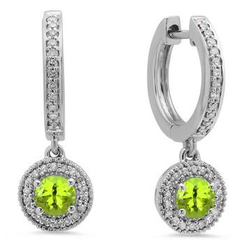 Trang sức Dazzling Rock Dazzlingrock Collection 10K Round Peridot & Kim cương trắng Nữ Halo Style Dangling Drop Bông tai (khuyên tai