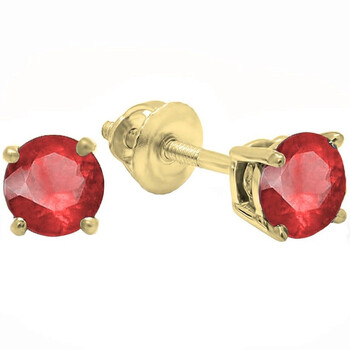 Trang sức Dazzling Rock Dazzlingrock Collection 10K 5.5mm each Round Cut Ruby Nữ Solitaire Stud Bông tai (khuyên tai