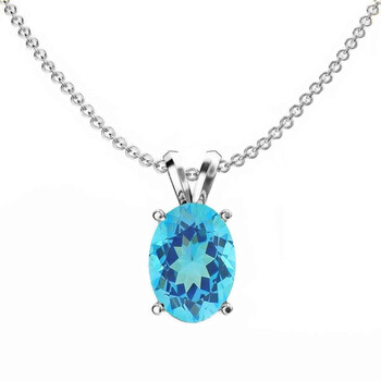 Dazzling Rock Dazzlingrock Collection 10K 8x6 mm Oval Cut Blue Topaz Nữ Solitaire Pendant (Silver Chain Included), Vàng trắng