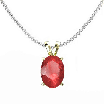 Trang sức Dazzling Rock Dazzlingrock Collection 14K 8x6 mm Oval Cut Ruby Nữ Solitaire Pendant (Silver Chain Included)