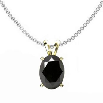 Trang sức Dazzling Rock Dazzlingrock Collection 10K 9x7 mm Oval Cut Đen Sapphire Nữ Solitaire Pendant (Silver Chain Included)