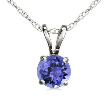 Trang sức Dazzling Rock Dazzlingrock Collection 6 mm Round Cut Tanzanite Nữ Solitaire Pendant (Silver Chain Included)