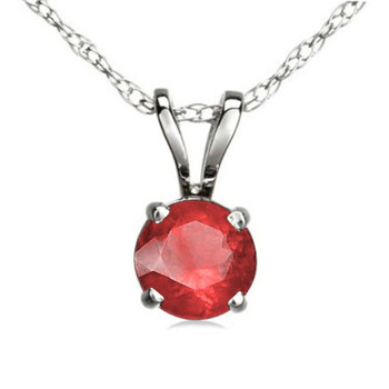 Trang sức Dazzling Rock Dazzlingrock Collection 14K 6 mm Round Cut Ruby Nữ Solitaire Pendant (Silver Chain Included)