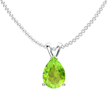 Trang sức Dazzling Rock Dazzlingrock Collection 8x6 mm Pear Cut Peridot Nữ Solitaire Pendant (Silver Chain Included)