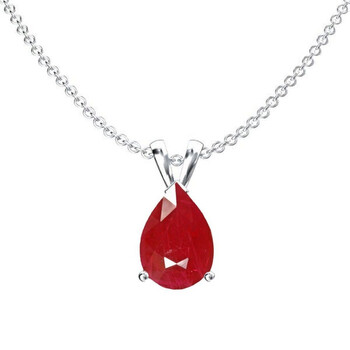 Trang sức Dazzling Rock Dazzlingrock Collection 14K 8x6 mm Pear Cut Ruby Nữ Solitaire Pendant (Silver Chain Included)