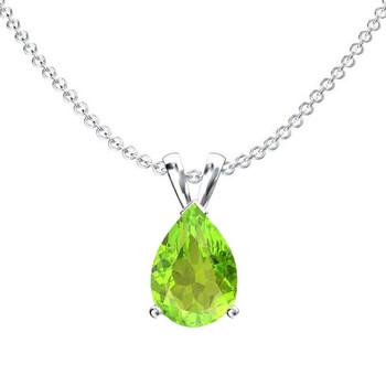 Trang sức Dazzling Rock Dazzlingrock Collection 9x7 mm Pear Cut Peridot Nữ Solitaire Pendant (Silver Chain Included), Bạc 925 chính hãng sale giảm giá sỉ rẻ nhất ở Hà nội TPHCM