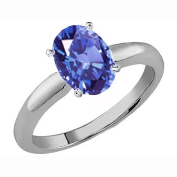 Trang sức Dazzling Rock Dazzlingrock Collection 10K 8X6 MM Oval Cut Tanzanite Nữ Solitaire Bridal Nhẫn đính hôn