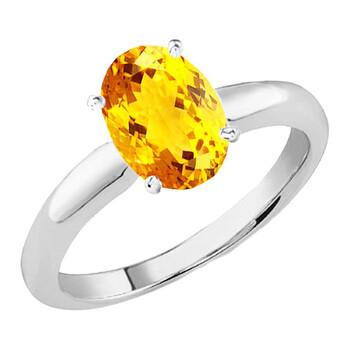 Trang sức Dazzling Rock Dazzlingrock Collection 14K 9x7 MM Oval Cut Citrine Nữ Solitaire Bridal Nhẫn đính hôn
