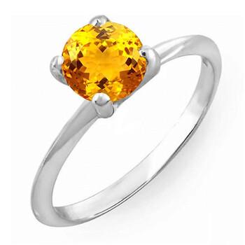 Trang sức Dazzling Rock Dazzlingrock Collection Bạc 925 7 MM Round Cut Citrine Solitaire Bridal Nhẫn đính hôn