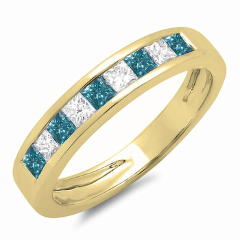 Dazzling Rock Dazzlingrock Collection 0.75 Carat (ctw) 10K Princess Blue & Kim cương trắng Nữ Wedding Band 3/4 CT, Yellow Gold, Size 5